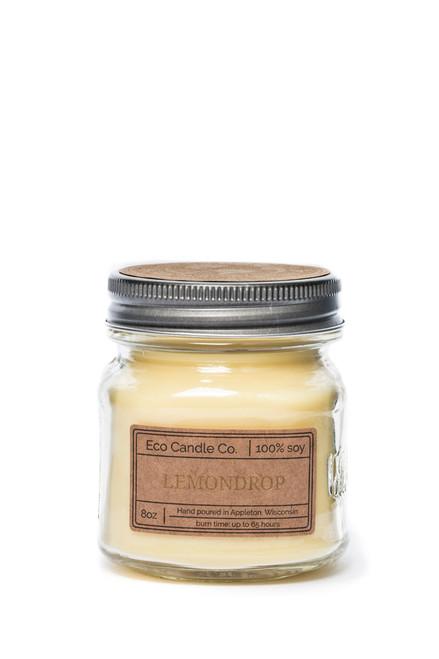 8oz soy eco candle in retro mason jar LEMONDROP
