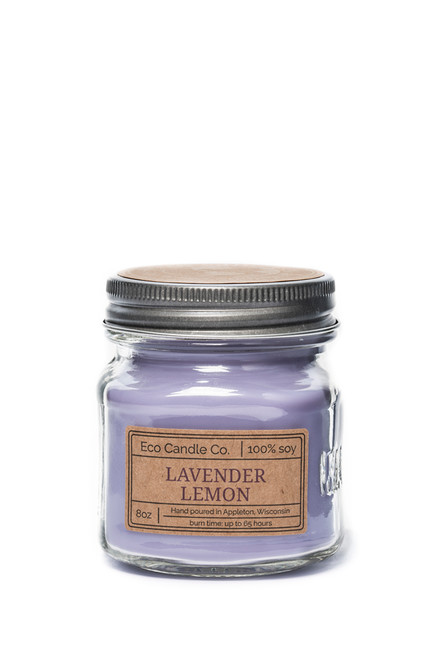 8oz soy eco candle in retro mason jar LAVENDER LEMON