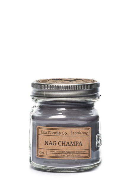 8oz soy eco candle in retro mason jar NAG CHAMPA