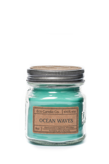 8oz soy eco candle in retro mason jar OCEAN WAVES