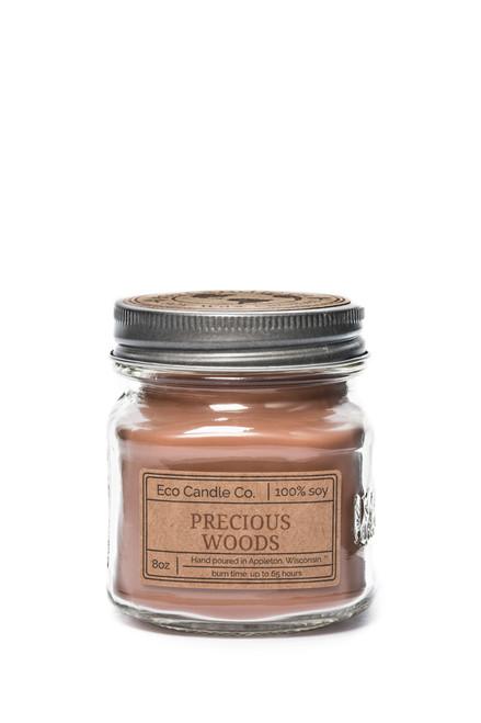 8oz soy eco candle in retro mason jar PRECIOUS WOODS