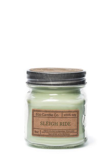 8oz soy eco candle in retro mason jar SLEIGH RIDE