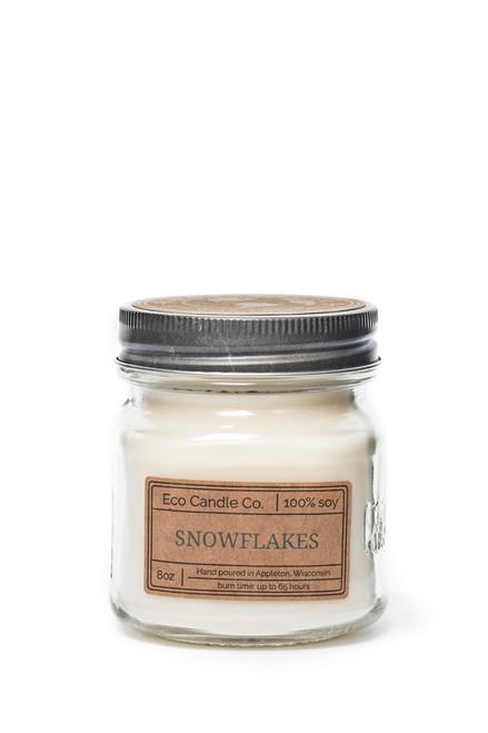 8oz soy eco candle in retro mason jar SNOWFLAKES