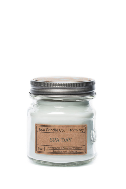 8oz soy eco candle in retro mason jar SPA DAY