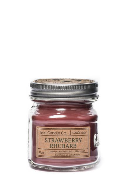 8oz soy eco candle in retro mason jar STRAWBERRY RHUBARB