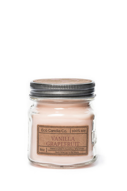 8oz soy eco candle in retro mason jar VANILLA GRAPEFRUIT