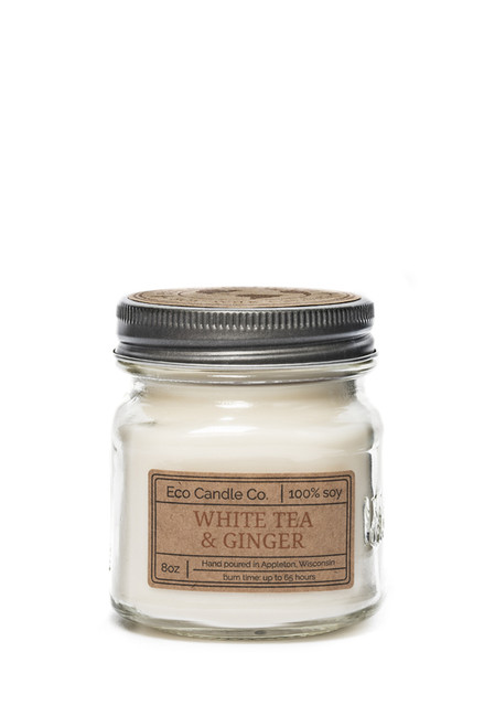 8oz soy eco candle in retro mason jar white tea & ginger