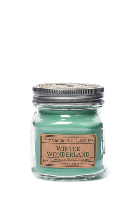 8oz soy eco candle in retro mason jar WINTER WONDERLAND