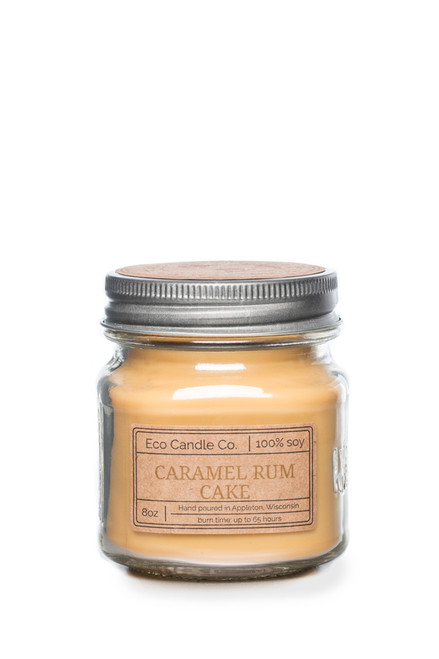 8oz soy eco candle in retro mason jar CARAMEL RUM CAKE