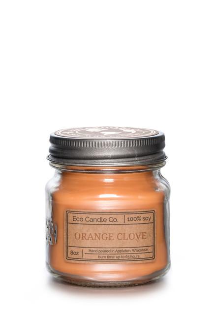8oz soy eco candle in retro mason jar ORANGE CLOVE