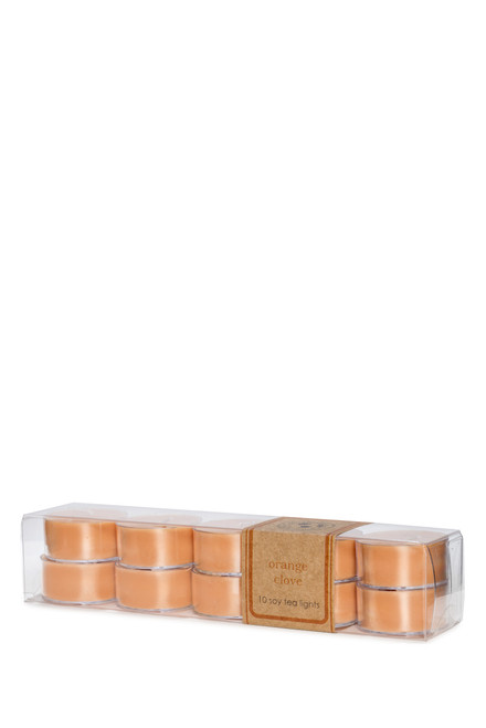 10-pack of soy tea lights ORANGE CLOVE
