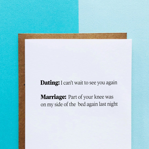 top hat card DATING VS. MARRIAGE