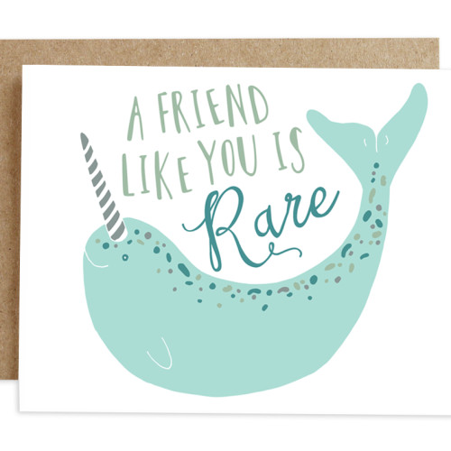 rhubarb paper co card NARWHAL FRIENDSHIP