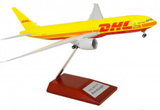 Limox models DHL operated by Aerologic Boeing 777-200F with wood stand Scale 1/200