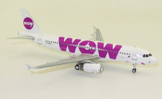 J Fox Models WOW Air Airbus A321NEO LZ-WOW with Stand Scale 1/200 JFA320008