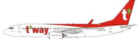 J Fox Models T'way Boeing 737- 8AL HL8300 Scale 1/200 JF7378034