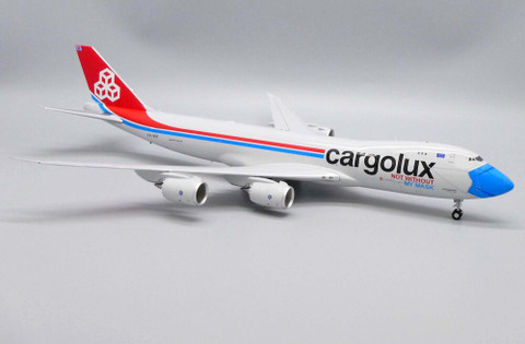 JC Wings Cargolux Not Without My Mask Boeing 747-8F LX-VCF With Stand Scale 1/200 JC20079
