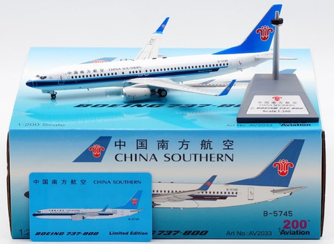 Aviation 200 China Southern Airlines Boeing 737-81(WL) B-5745 with stand Scale 1/200 AV2033