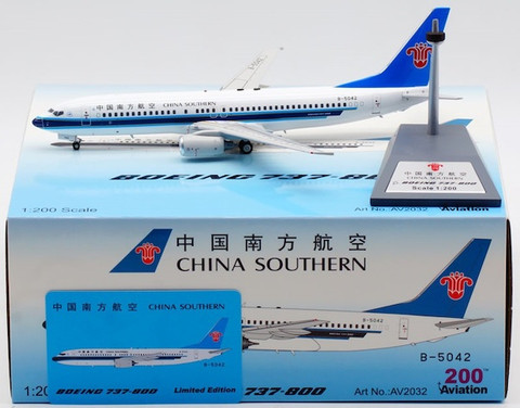 Aviation 200 China Southern Airlines Boeing 737-81B B-5042 with stand Scale 1/200 AV2032