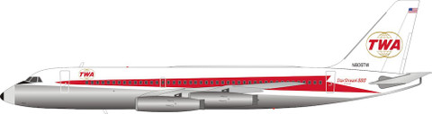 Inflight 200 TWA Trans World Airlines Convair CV880 N806TW with stand Scale 1/200 IF880TW0129P