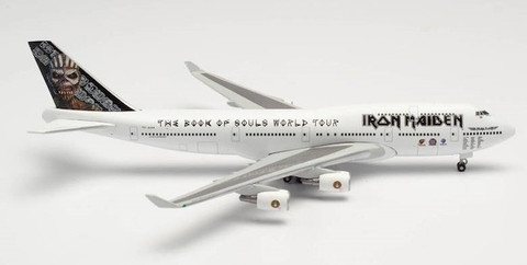 Herpa Wings Iron Maiden Ed Force One Book of Souls Tour Boeing 747-400 TF-AAK Scale 1/200 571609
