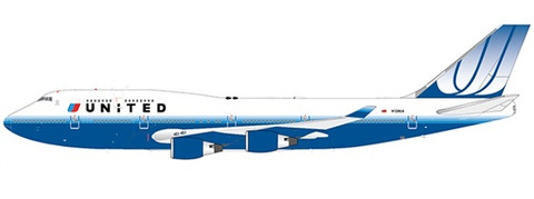 JC Wings United Boeing 747-400 N128UA With Stand Scale 1/200 JC2267