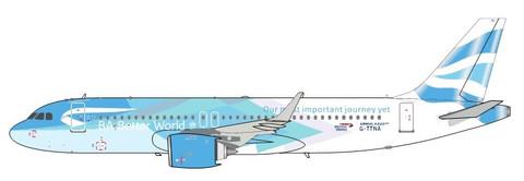 ARD200 British Airways BA Better World Airbus A320-200 G-TTNA plus coin with stand Scale 1/200 ARDBA38