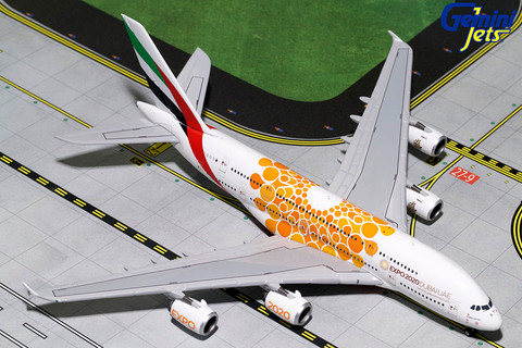 Gemini Jets Emirates Orange Expo 2020 Airbus A380-800 A6-EOU Scale 1/400 GJUAE1815