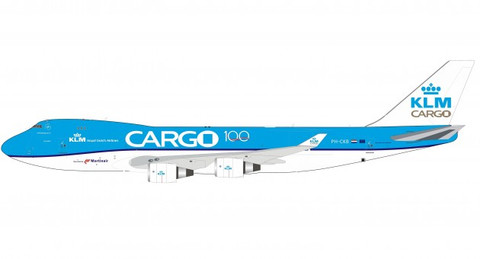 Inflight 200 KLM 100 Years Cargo Boeing 747-400 PH-CKB with stand Scale 1/200 IF744F1019