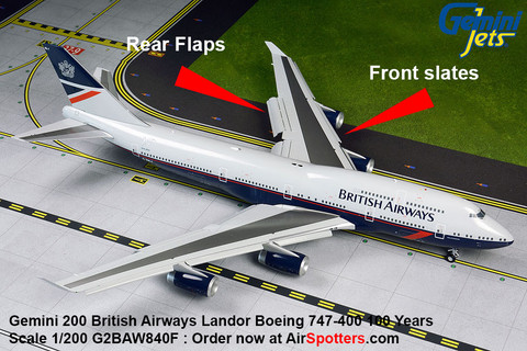 Gemini 200 British Airways Landor Boeing 747-400 FLAPS DOWN  Scale 1/200 G2BAW840F