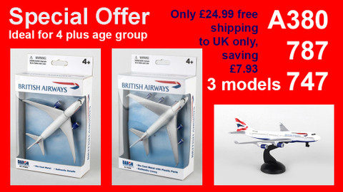 Special offer British Airways Boeing 787  747 and A380 toys 3 pack