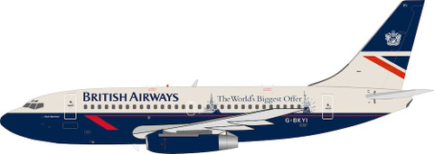 Blue Box British Airways 'The World's Biggest Offer Boeing B737-200 G-BKYI With Stand  Scale 1/200 WB732BA08