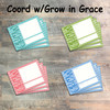 """Grow Cards, Journaling Cards - 12 3x4 Cards in Colors to Match """"Grow in Grace"""" Kit"""