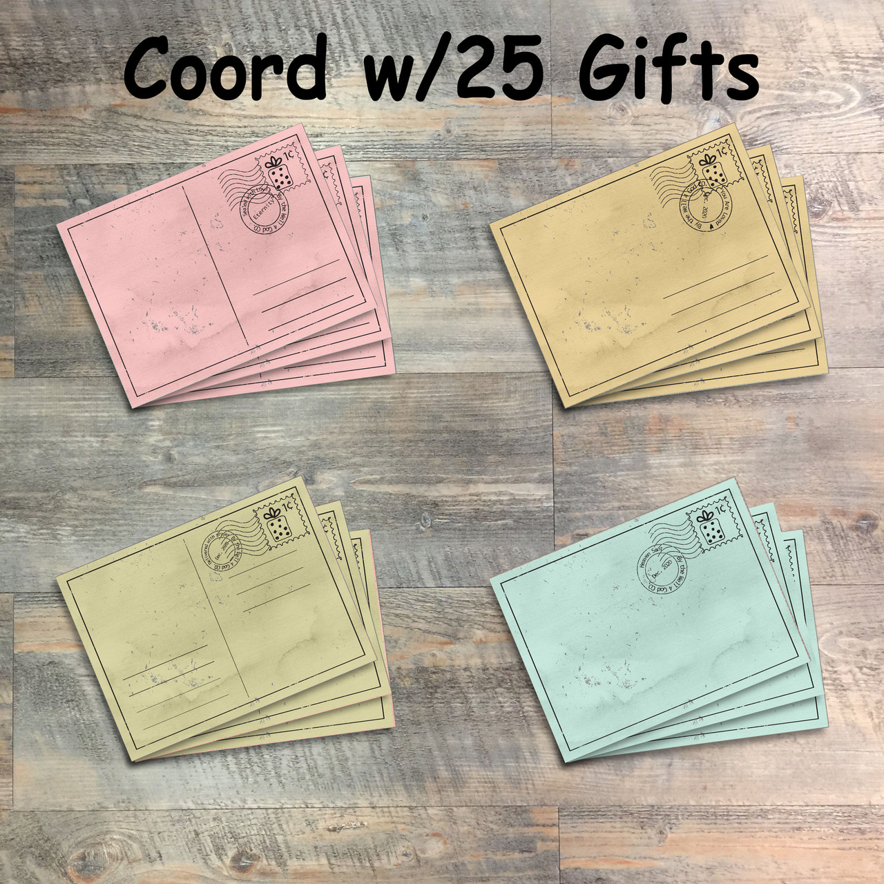 25 Gifts of Love Postcard Journaling Cards - 12 3x4 Cards in Colors to Match Kit