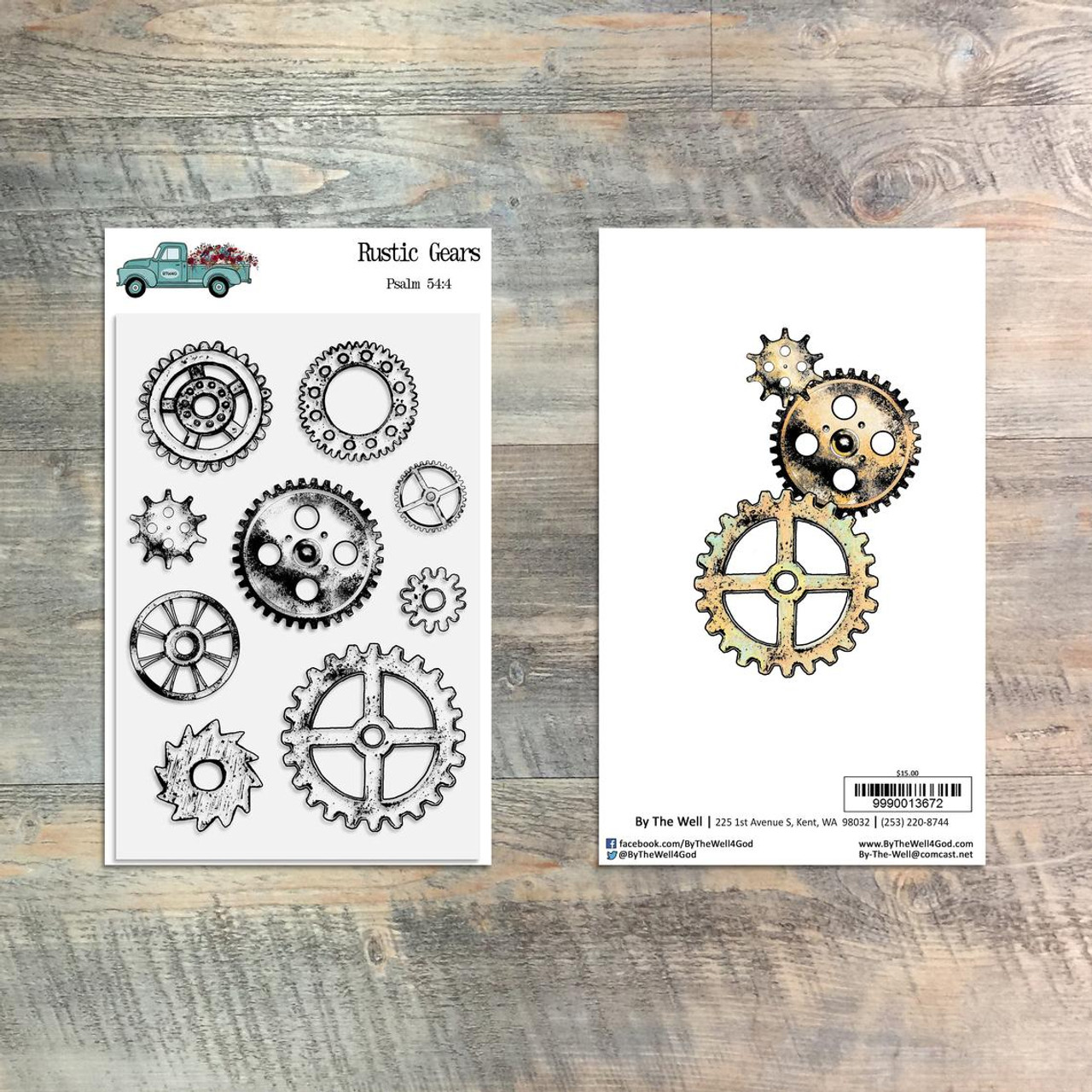 Rustic Gears Stamp Set - 9 Piece Stamp Set