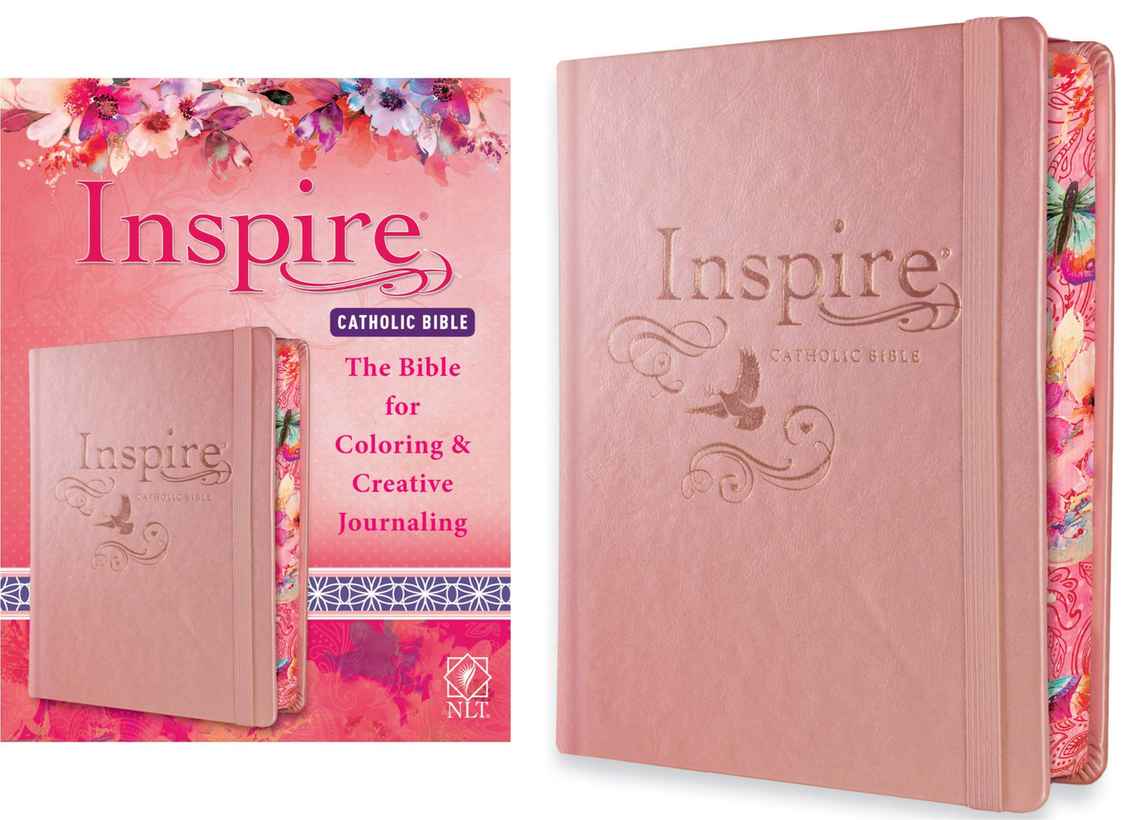 NLT Inspire Catholic Bible (Hardcover, Rose Gold): Catholic Coloring Bible–Over 450 Illustrations to Color and Creative Journaling Bible Space