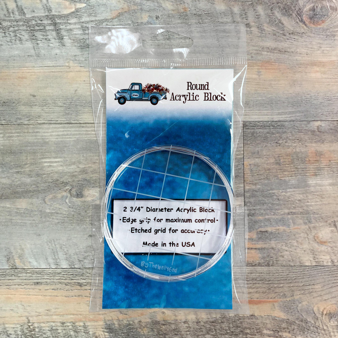 BTW4G Round Acrylic Stamping Block - 2.75-inch Round with Etched Grid & Edge Grip