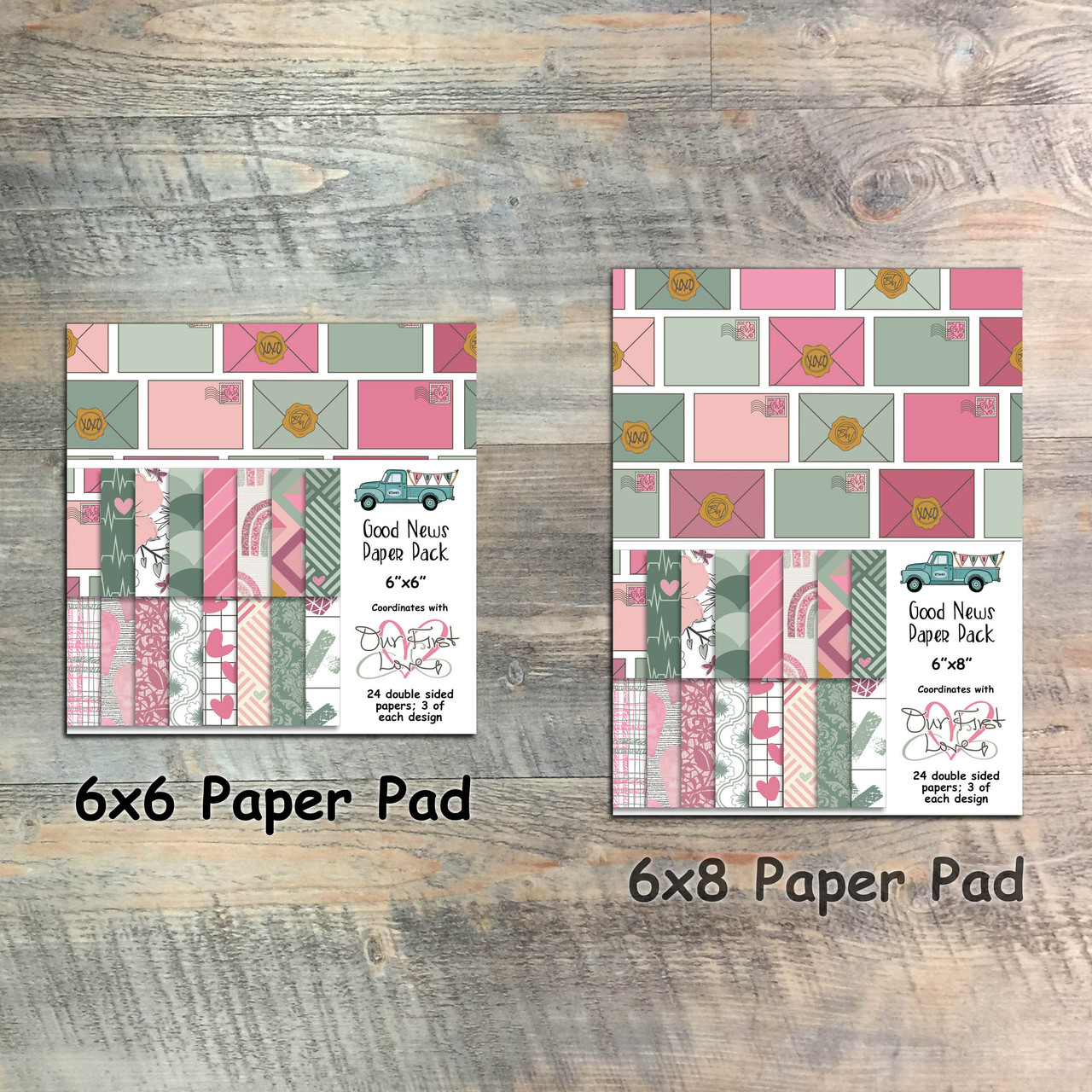 Our First Love - Good News Paper Collection - 24 Double Sided 6x6 or 6x8 Papers