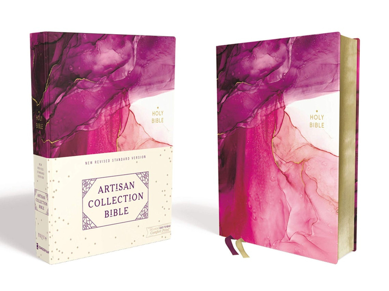 NRSV, Artisan Collection Bible, Cloth over Board, Pink, Art Gilded Edges, Red Letter Edition, Comfort Print