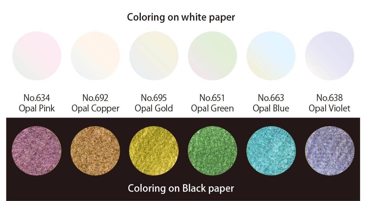 Kuretake Gansai Tambi Opal Colors - 6 Color Set - Japanese Traditional Solid Watercolor Paint - Bible Journaling Supplies