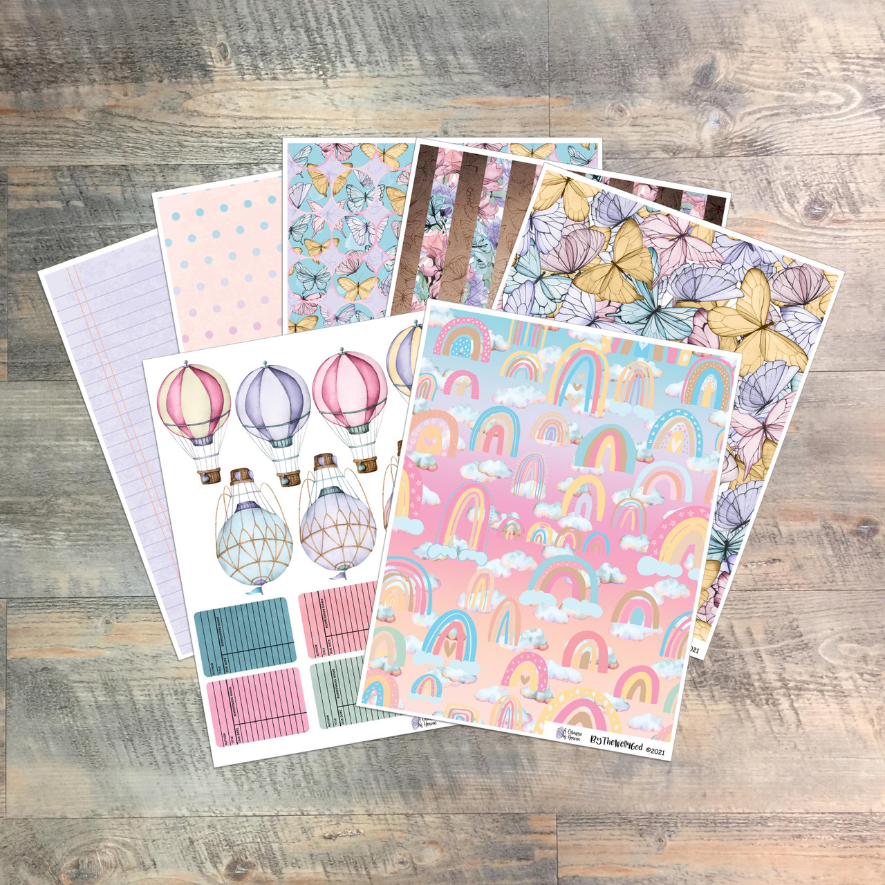 """Digital Paper Collection for """"A Glimpse of Heaven"""" Devotional Kit - 7 Sheets of Coordinating Papers"""