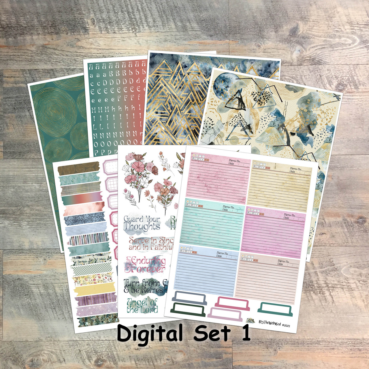 """Set 1: Digital Paper Collection for """"Fear the Lord"""" Devotional Kit"""