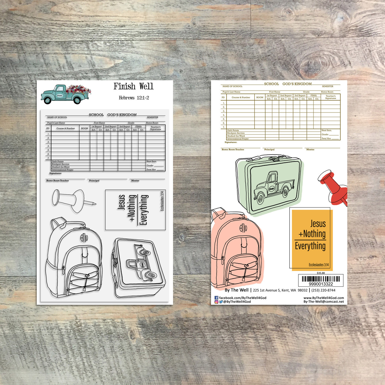 Finish Well - Back to School Stamp - 5 Piece 4x6 Stamp Set