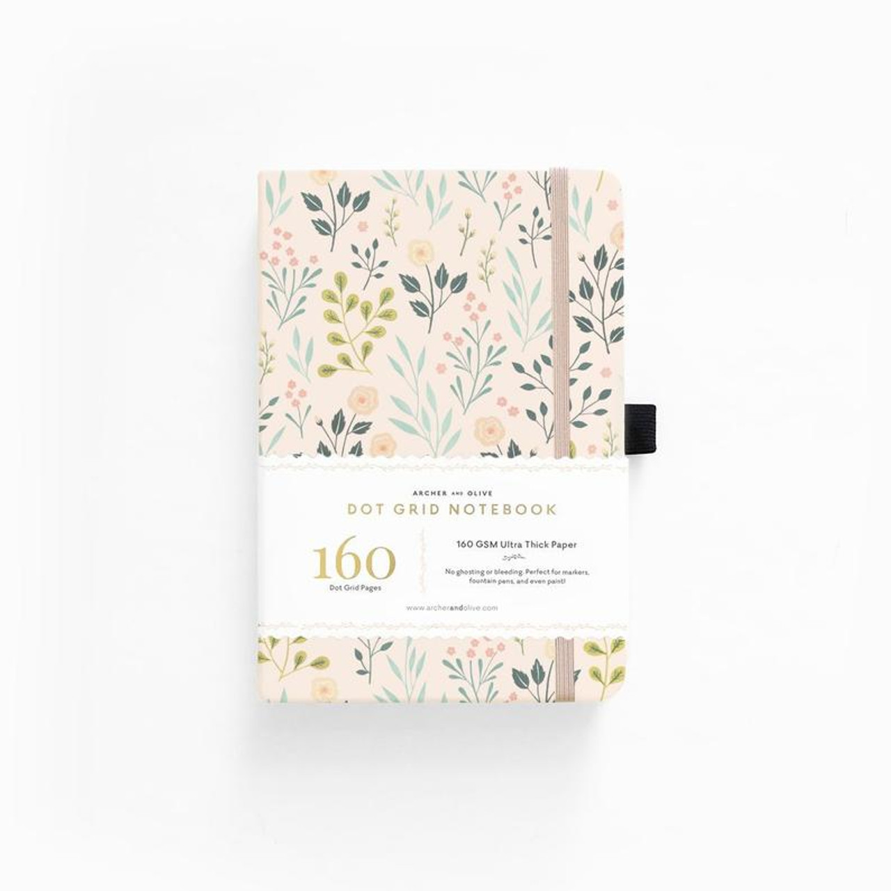 A5 Pink Flowers Dot Grid Notebook by Archer & Olive