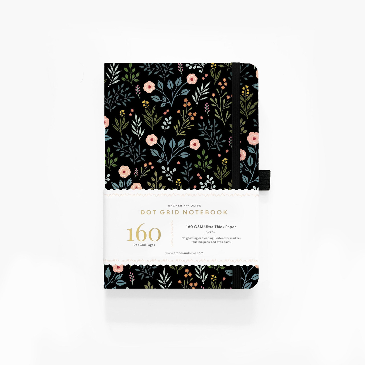 A5 Night Garden Dot Grid Notebook by Archer & Olive