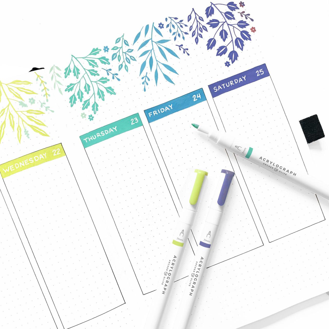 Acrylograph Pens Tropical Selection 3mm tip