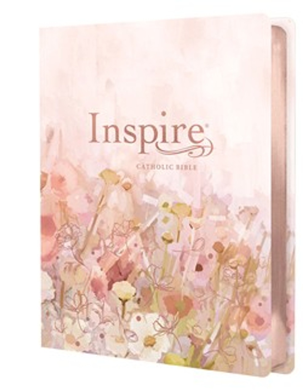 Inspire Catholic Bible NLT Large Print (Leatherlike, Pink Fields with Rose Gold): The Bible for Coloring & Creative Journaling - Large Print