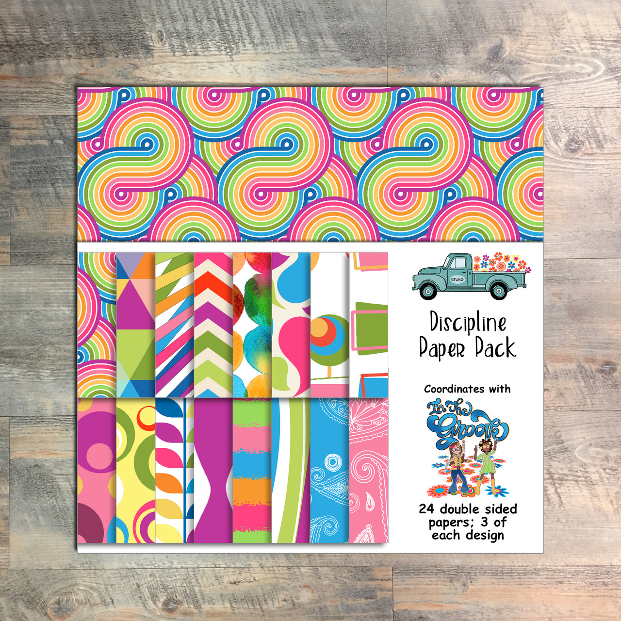 """In The Groove - Discipline Paper Collection - 24 Double Sided 6x6 Papers - Coordinates with """"In The Groove"""" Devotional Kit"""