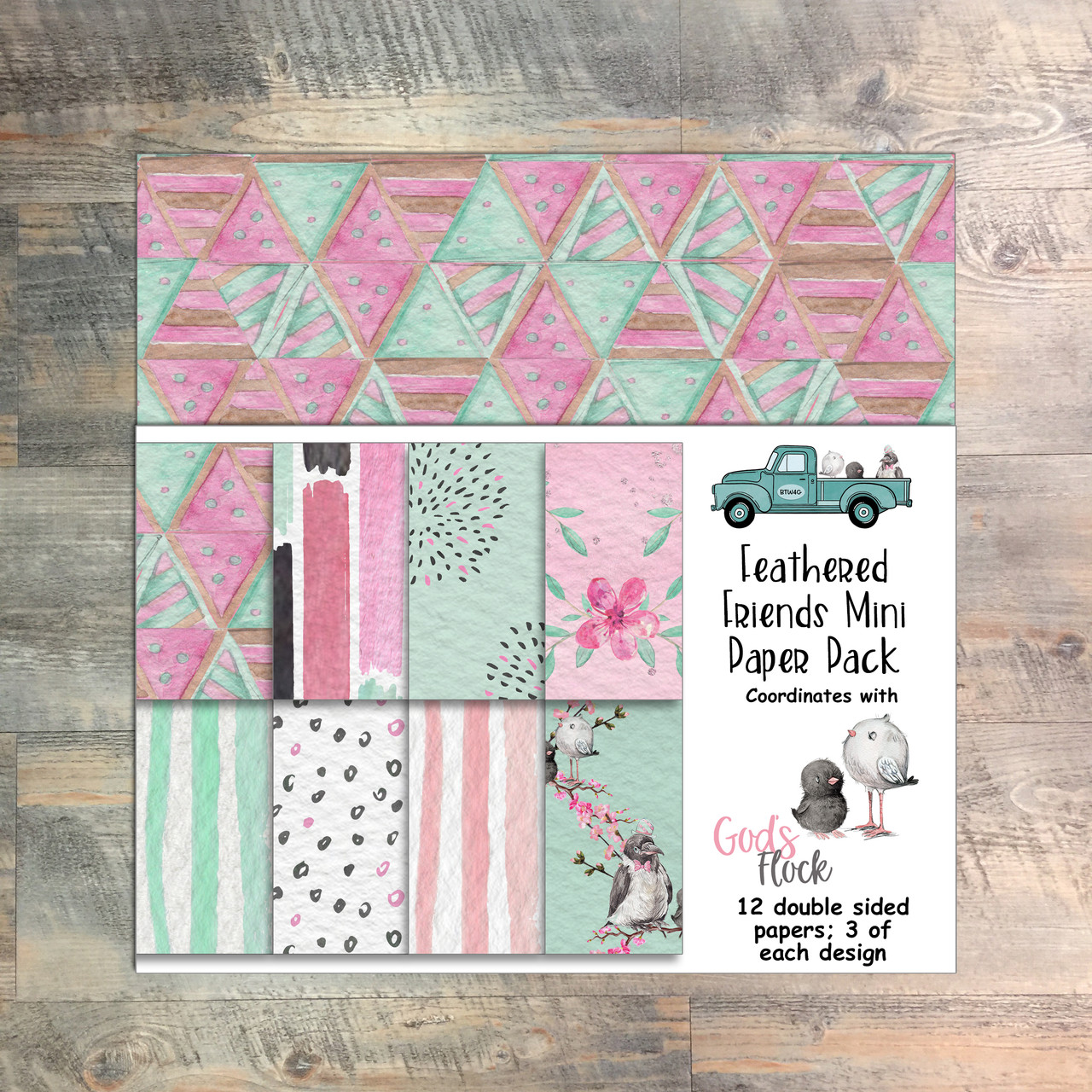 God's Flock - Feathered Friends Mini Paper Collection - 12 Double Sided 6x6 Papers
