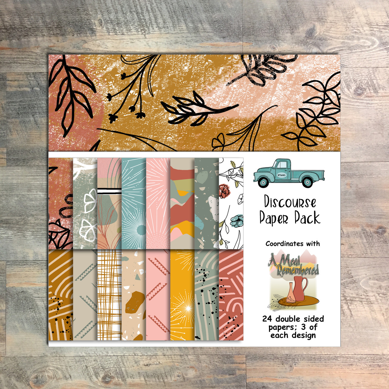 "A Meal Remembered - Discourse Paper Collection - 24 Double Sided 6x6 Papers - Coordinates with ""A Meal Remembered"" Devotional Kit"
